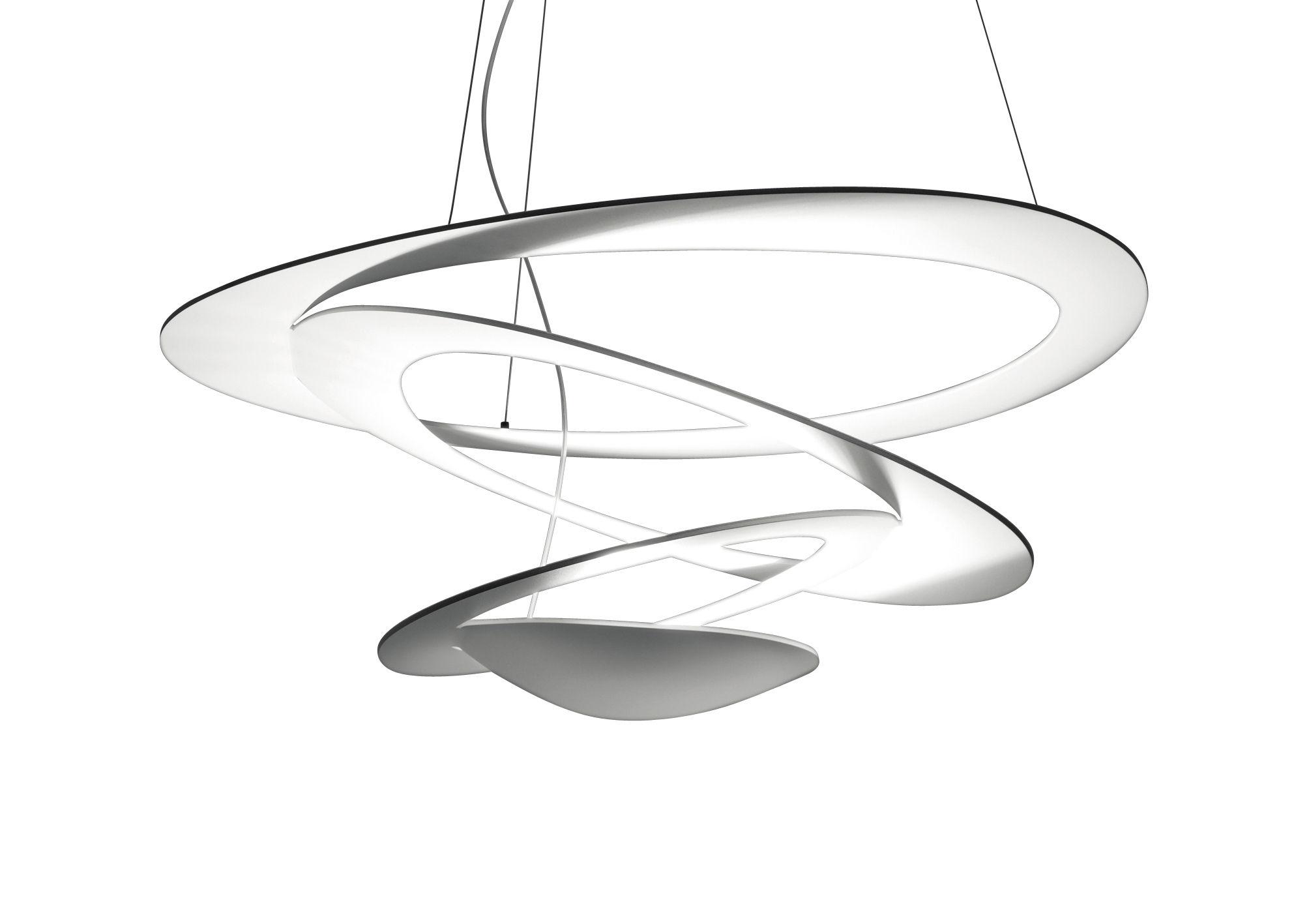 Leuchten - Pendelleuchten - Pirce Micro Pendelleuchte LED / Ø 48 cm - Artemide - Weiβ - klarlackbeschichtetes Aluminium