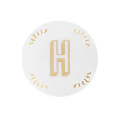 Tavola - Piatti  - Piatto per dolcetti Lettering - Ø 12 cm / Lettera H di Bitossi Home - Lettera H / Or - Porcellana