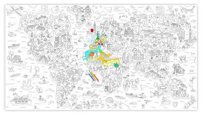 Poster à colorier XXL Atlas / 180 x 100 cm - OMY Design & Play blanc,noir en papier