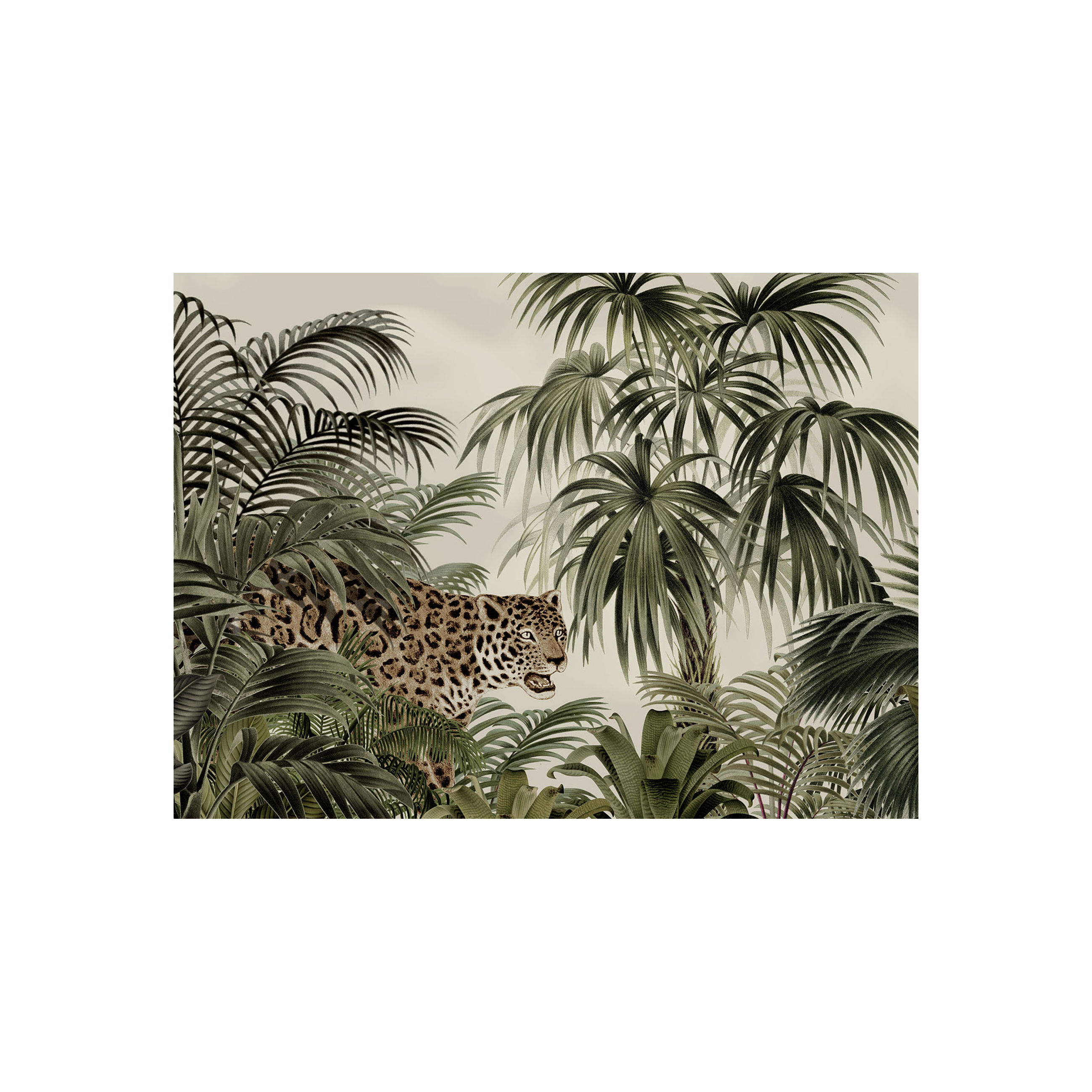 Arts de la table - Nappes, serviettes et sets - Set de table Tresors / Vinyle - Beaumont - Léopard / Vert & beige - Vinyle