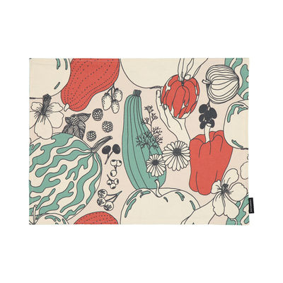 Arts de la table - Nappes, serviettes et sets - Set de table Vihannesmaa / Coton enduit - 31 x 42 cm - Marimekko - Vihannesmaa / Blanc coton, rouge, vert - Coton enduit