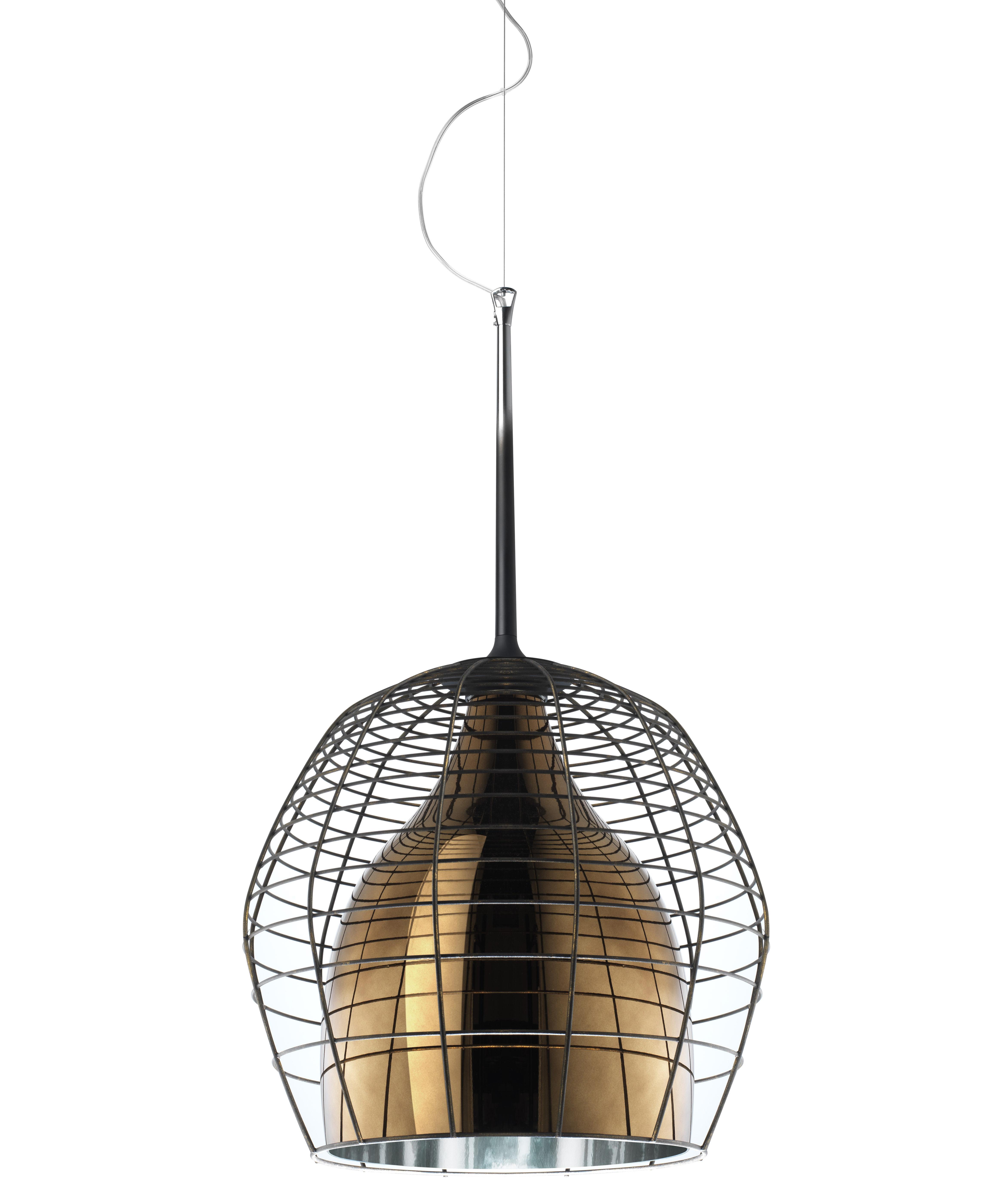 Illuminazione - Lampadari - Sospensione Cage - Ø 34 cm di Diesel with Foscarini - Gabbia marrone / Bronzo - metallo verniciato, vetro soffiato