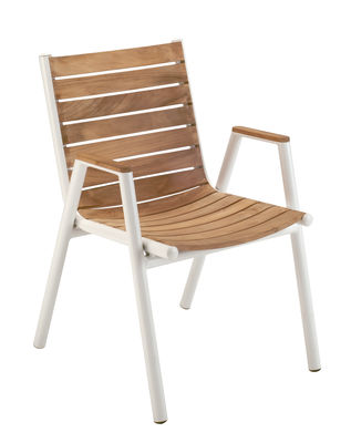 Furniture - Chairs - Pilotis Stackable armchair - Teak by Vlaemynck - Teak / White - Lacquered aluminium, Oiled teak