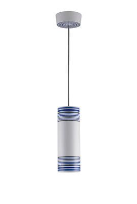 Suspension May / peinte à la main - Ø 10 x H 28 cm - Original BTC blanc,bleu,gris en céramique