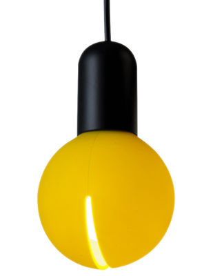 Luminaire - Suspensions - Suspension O! /parfumée - Martinelli Luce - Senteur citron - Structure noire / diffuseur jaune - Aluminium, Silicone