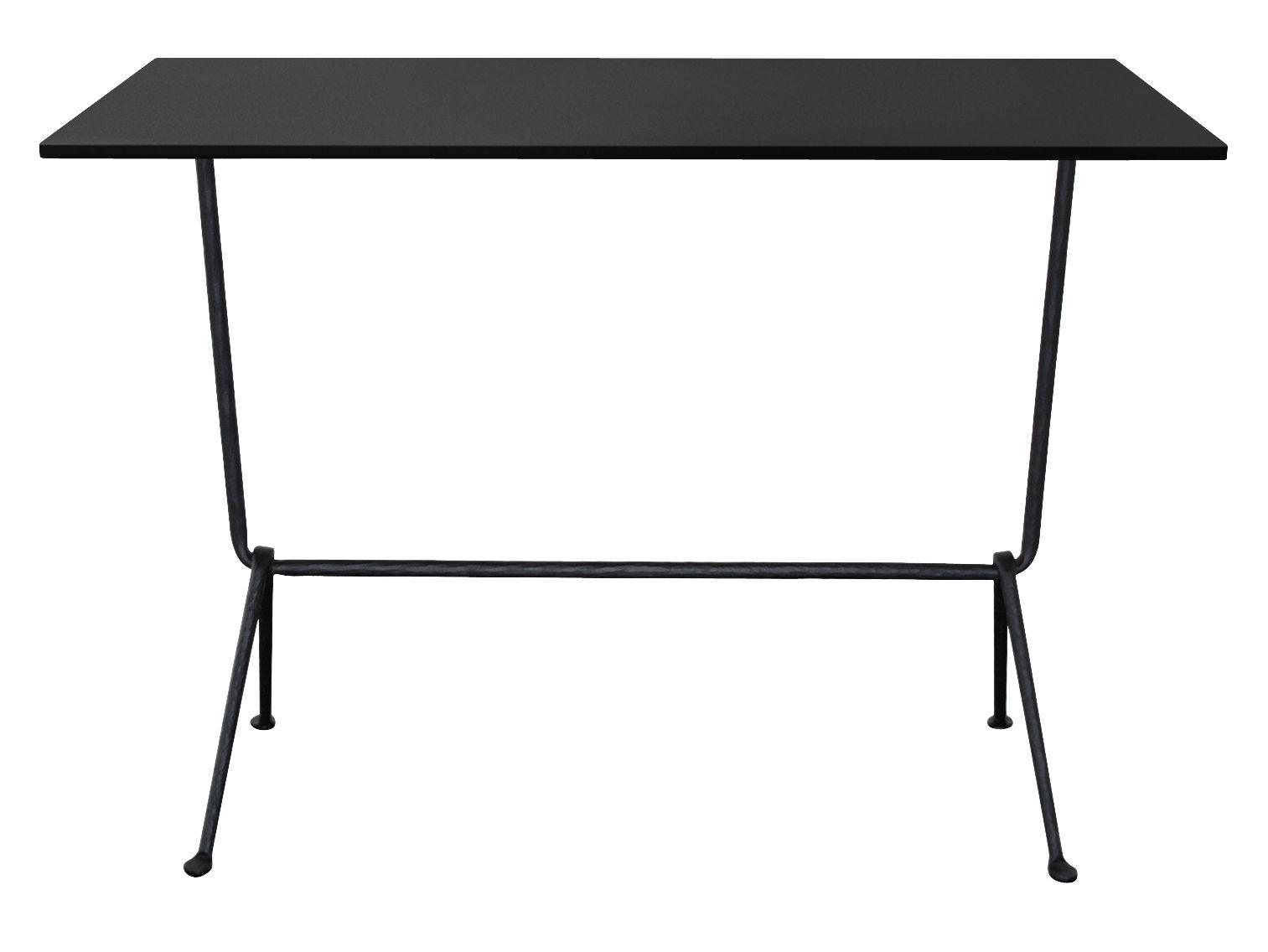 Mobilier - Mange-debout et bars - Table haute Officina Bistrot Outdoor / H 110 cm - 120 x 60 cm - Plateau acier - Magis - Acier noir / Pieds noirs - Acier, Fer