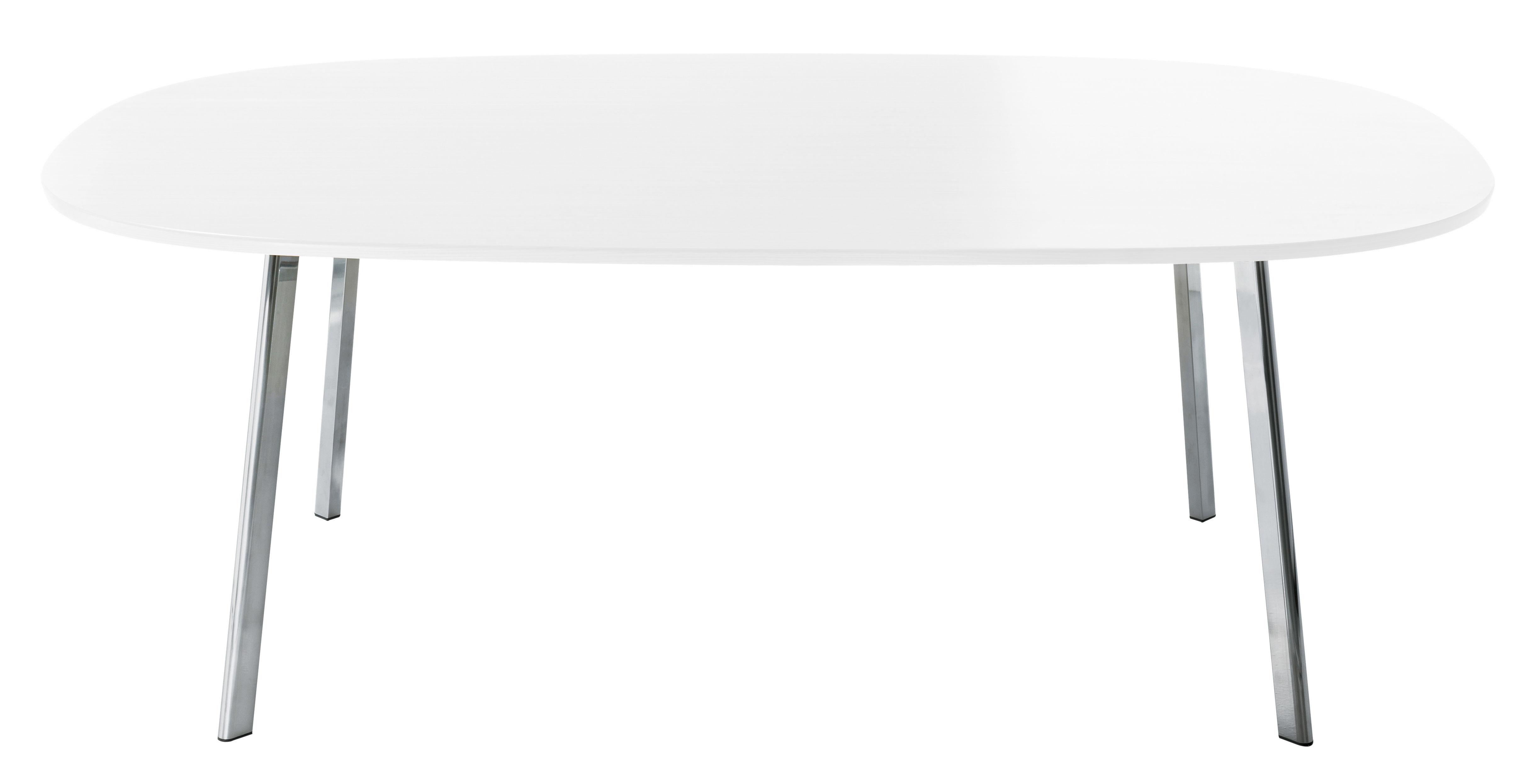 Mobilier - Tables - Table rectangulaire Déjà-vu / 160 x 98 cm - Magis - Plateau blanc / Pieds chromés - Aluminium poli, MDF verni