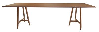 Tendances - Autour du repas - Table rectangulaire Easel / 220 x 90 cm - Plateau noyer - Driade - Plateau noyer / Piètement noyer - Contreplaqué de noyer, Noyer massif