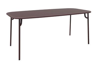 Table rectangulaire Week-end / 180 x 85 cm - Aluminium - Petite Friture bordeaux en métal