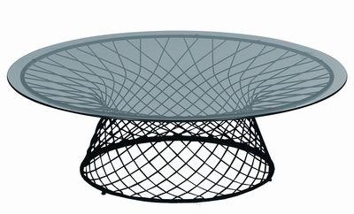Arredamento - Tavolini  - Tavolino Heaven - Ø 120 cm di Emu - Nero - Acciaio verniciato, Vetro