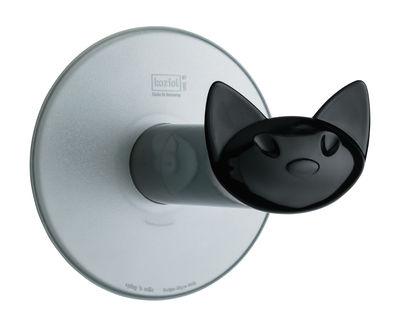 Accessoires - Accessoires für das Bad - Miaou Toilettenpapierhalter / mit Saugnapf - Koziol - Anthrazit (transparent) / Griff schwarz - Plastik