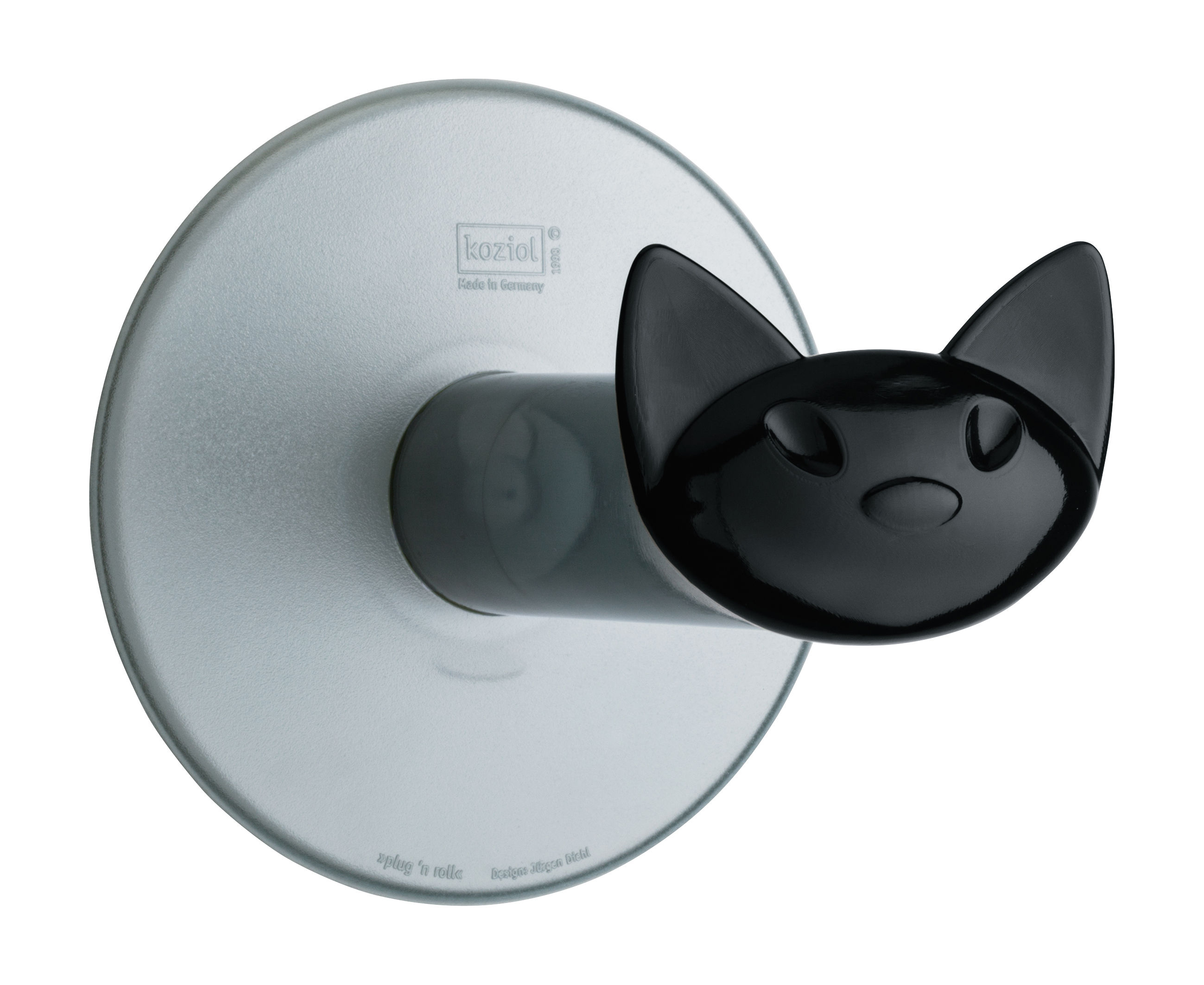 miaou toilettenpapierhalter mit saugnapf anthrazit transparent griff schwarz by koziol. Black Bedroom Furniture Sets. Home Design Ideas