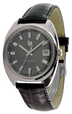 Accessoires - Uhren - GDG Automatic Uhr Neuauflage des Originals aus dem Jahr 1952 - Lip - Chrom-glänzend / Armband schwarzes Leder - Leder