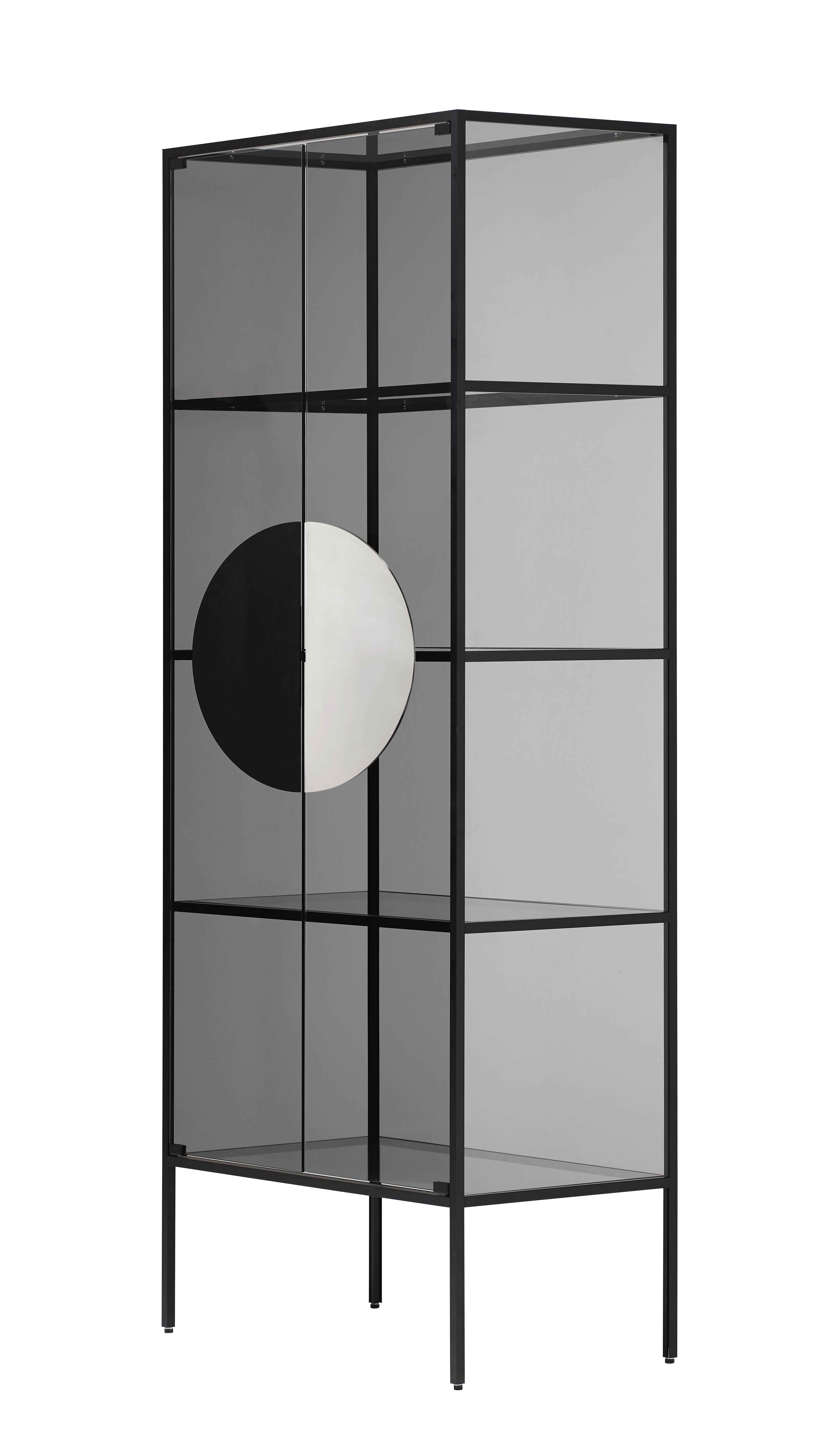 Möbel - Regale und Bücherregale - Yang Aufbewahrungsmöbel / Vitrine - H 180 cm - Opinion Ciatti - Schwarz / Rauchglas - Einscheiben-Sicherheitsglas, eloxiertes Aluminium, Nickel