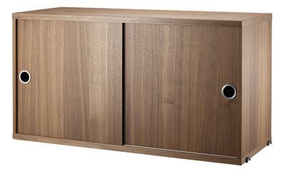 Caisson String System / 2 portes coulissantes - L 78 x P 30 cm - String Furniture noyer en métal
