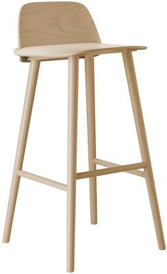 Chaise de bar Nerd H 75 cm Bois Muuto bois naturel en bois