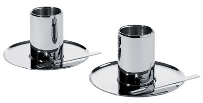 Tableware - Coffee Mugs & Tea Cups - Jean Nouvel Coffee cup - Set of 2 by Alessi - Steel - Stainless steel