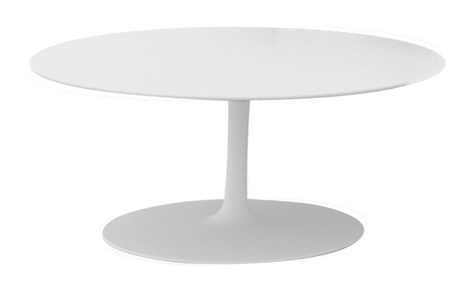 Möbel - Couchtische - Flow Couchtisch H 30 cm - MDF Italia - Matt weiß - Cristalplant, lackiertes Aluminium
