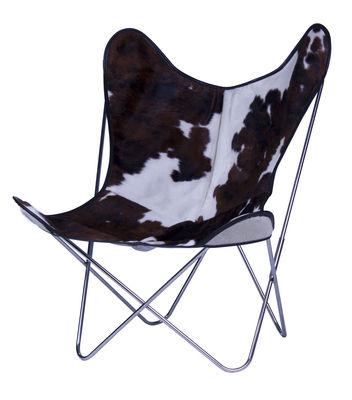 Chaise AA Butterfly / Peau de vache - AA-New Design blanc,marron,chromé en cuir
