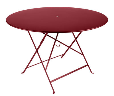 Outdoor - Garden Tables - Bistro Foldable table - Ø 117 cm - 6/8 people - Umbrella Hole by Fermob - Pimento - Painted steel