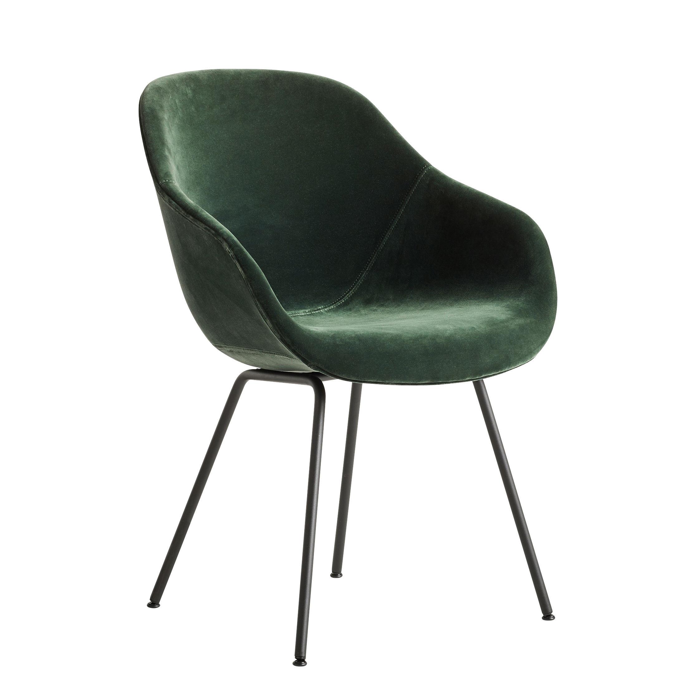 Möbel - Stühle  - About a chair AAC127 Gepolsterter Sessel / Hohe Rückenlehne - Ganz mit Velours bezogen & Metall - Hay - Grüner Velours / Füße schwarz - Polyurethan-Schaum, thermolackierter Stahl, Velours, verstärktes Polypropylen