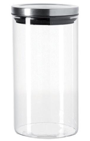 Küche - Dosen, Boxen und Gläser - Comodo hermetisch verschließbares Glas - 1 l - Leonardo - 1 l - transparent / glänzendes Metall - Glas, Metall
