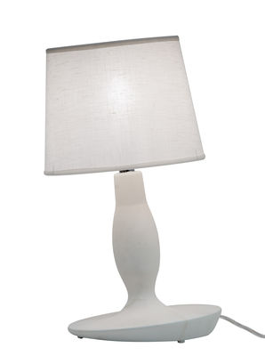 Image of Lampada da tavolo Norma M - / Ceramica & lino - Ø 22 x H 40 cm di Karman - Bianco - Tessuto/Ceramica