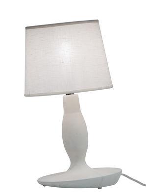 Lampe de table Norma M / Céramique & Lin - Ø 22 x H 40 cm - Karman blanc mat en tissu