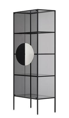 Arredamento - Scaffali e librerie - Mobile contenitore Yang - / Vetrina - H 180 cm di Opinion Ciatti - Nero / Vetro fumé - Alluminio anodizzato, Nichel, Vetro temprato