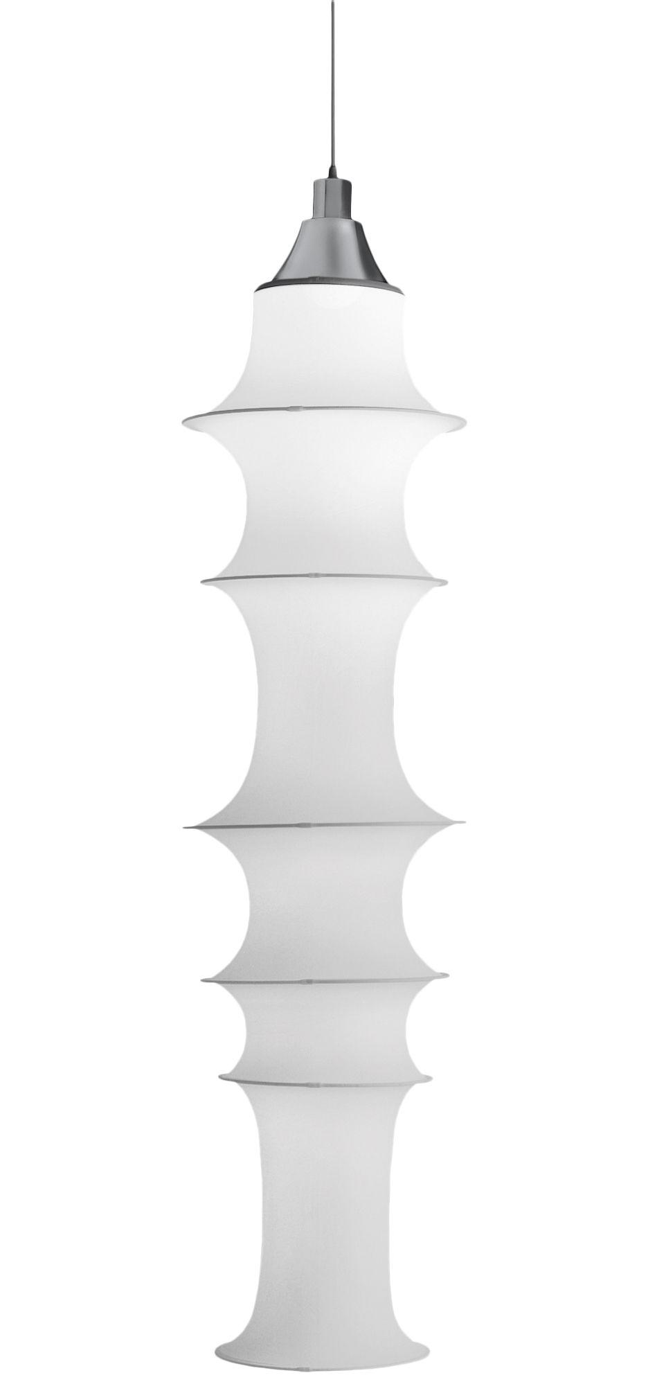Leuchten - Pendelleuchten - Falkland Pendelleuchte H 165 cm - Danese Light - Weiß - feuerfeste Ausführung (empfohlen für öffentliche Räume) - elastisches Gewebe, Stahl