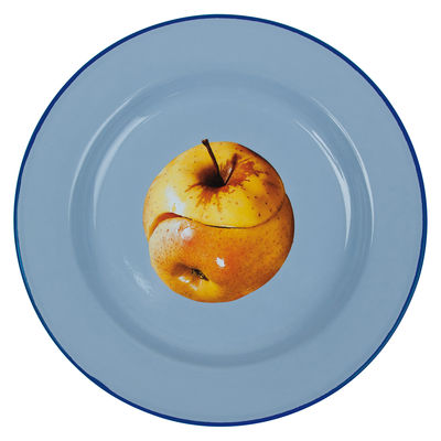 Tableware - Plates - Toiletpaper - Pomme Plate - / Ying & Yang Apple by Seletti - Yin & Yang apple - Enamelled metal
