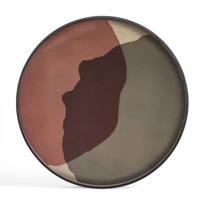 Arts de la table - Plateaux - Plateau Pinot Combined Dots / Ø 92 cm - Bois & verre peint main - Ethnicraft - Tons roses - Bois, Verre sérigraphié