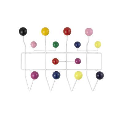 Mobilier - Portemanteaux, patères & portants - Portemanteau mural Hang it all / Eames (1953) - Vitra - Multicolore / Structure blanche - Acier, Bois laqué