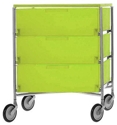 Mobil Rollcontainer mit 3 Schubladen - Kartell - Grün