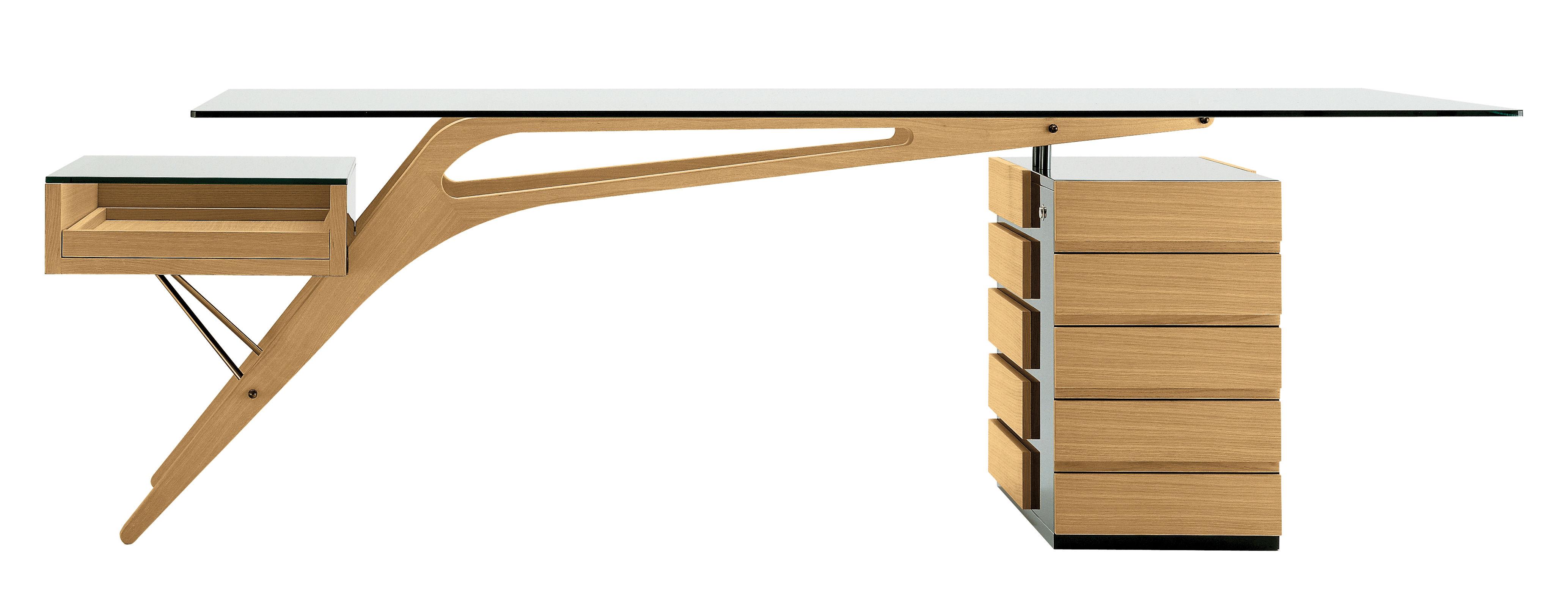 Arredamento - Mobili da ufficio - Scrivania Cavour - / Legno & Vetro - 247 x 90 cm di Zanotta - Rovere naturale / nero - Rovere, Vetro