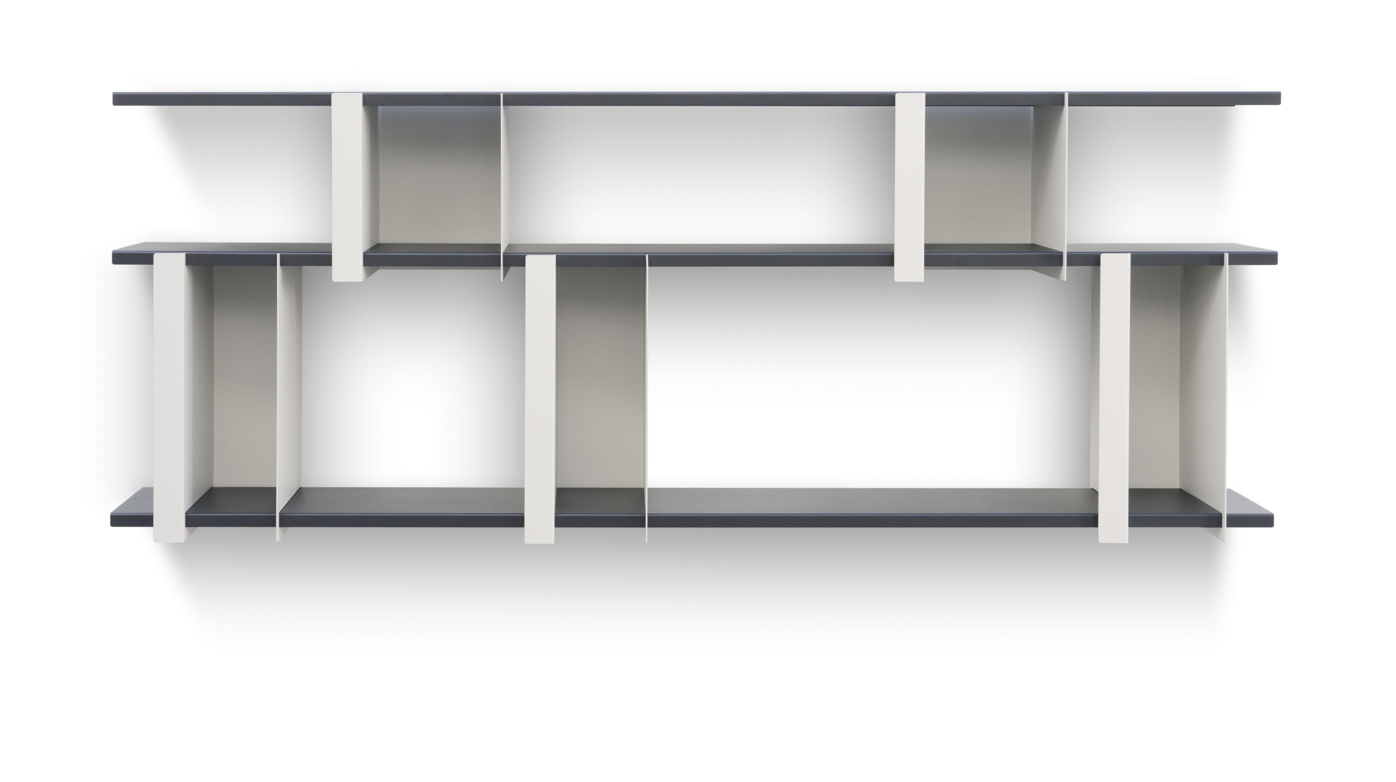 Furniture - Bookcases & Bookshelves - Opli 3 Shelf - / L 149 x H 61 cm by Presse citron - Light beige / Charcoal - Lacquered steel