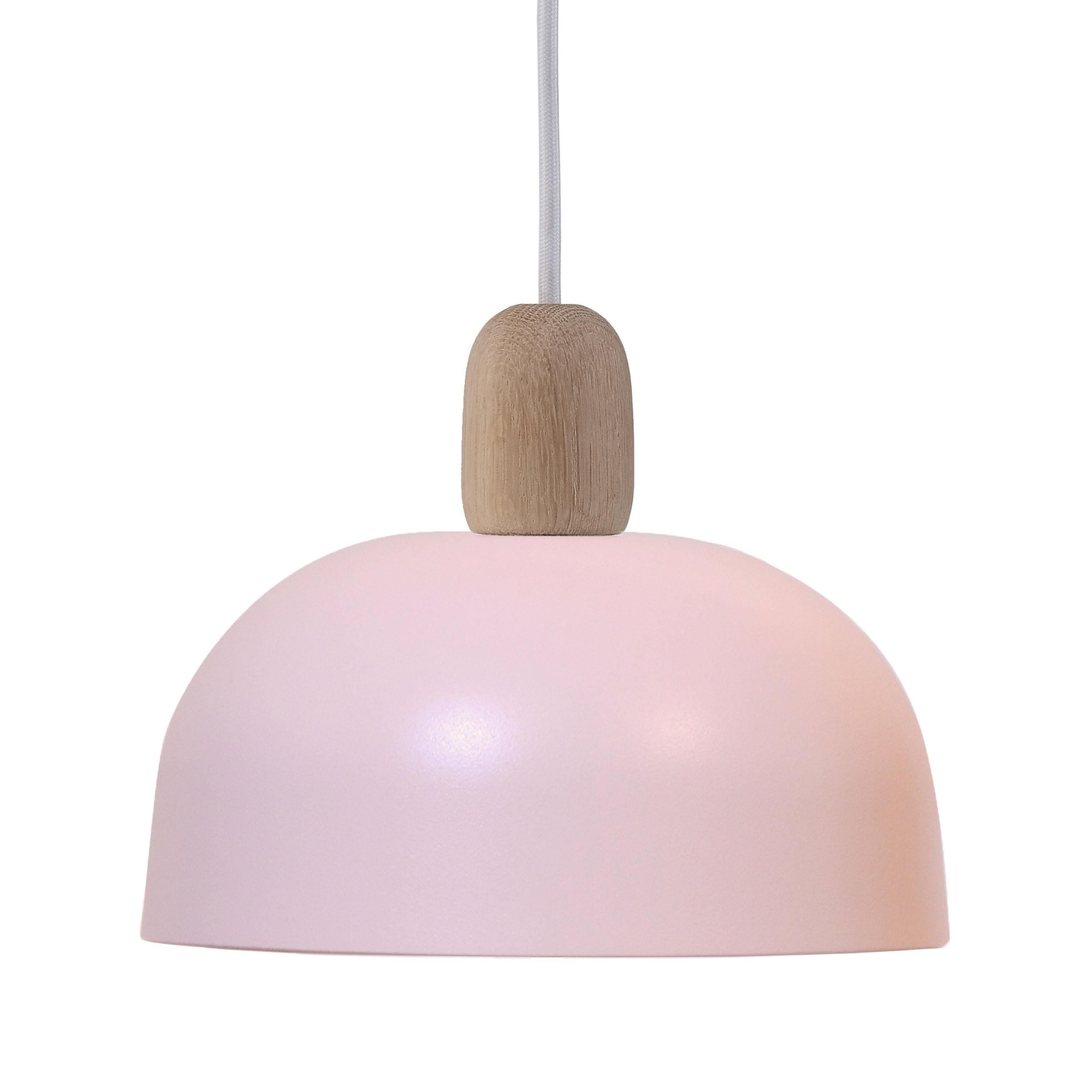 Illuminazione - Lampadari - Sospensione Nina - / Ø 23 cm - Rovere & Metallo di Hartô - Rosa pallido & rovere - metallo laccato, Rovere massello