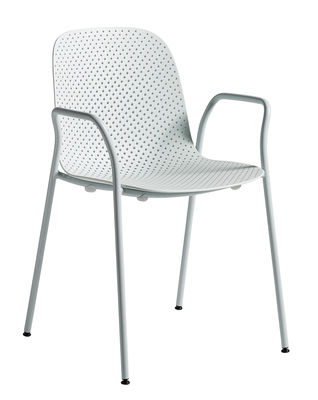 Furniture - Chairs - 13eighty Stackable armchair - / Perforated plastic by Hay - Pale blue - Epoxy lacquered steel, Perforated polypropylene