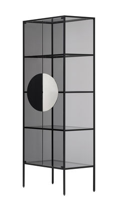 Furniture - Bookcases & Bookshelves - Yang Storage unit - / Vitrine - H 180 cm by Opinion Ciatti - Black / Smoked glass - Anodized aluminium, Nickel, Soak glass