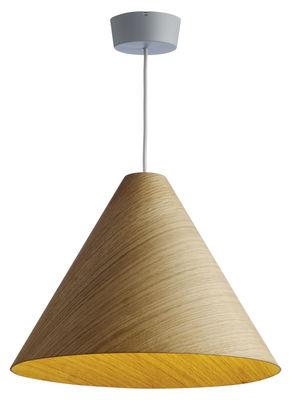 Luminaire - Suspensions - Suspension 30degree Large / Ø 53 - Contreplaqué de chêne - wrong.london - Chêne naturel / Cordon gris - Contreplaqué de chêne verni