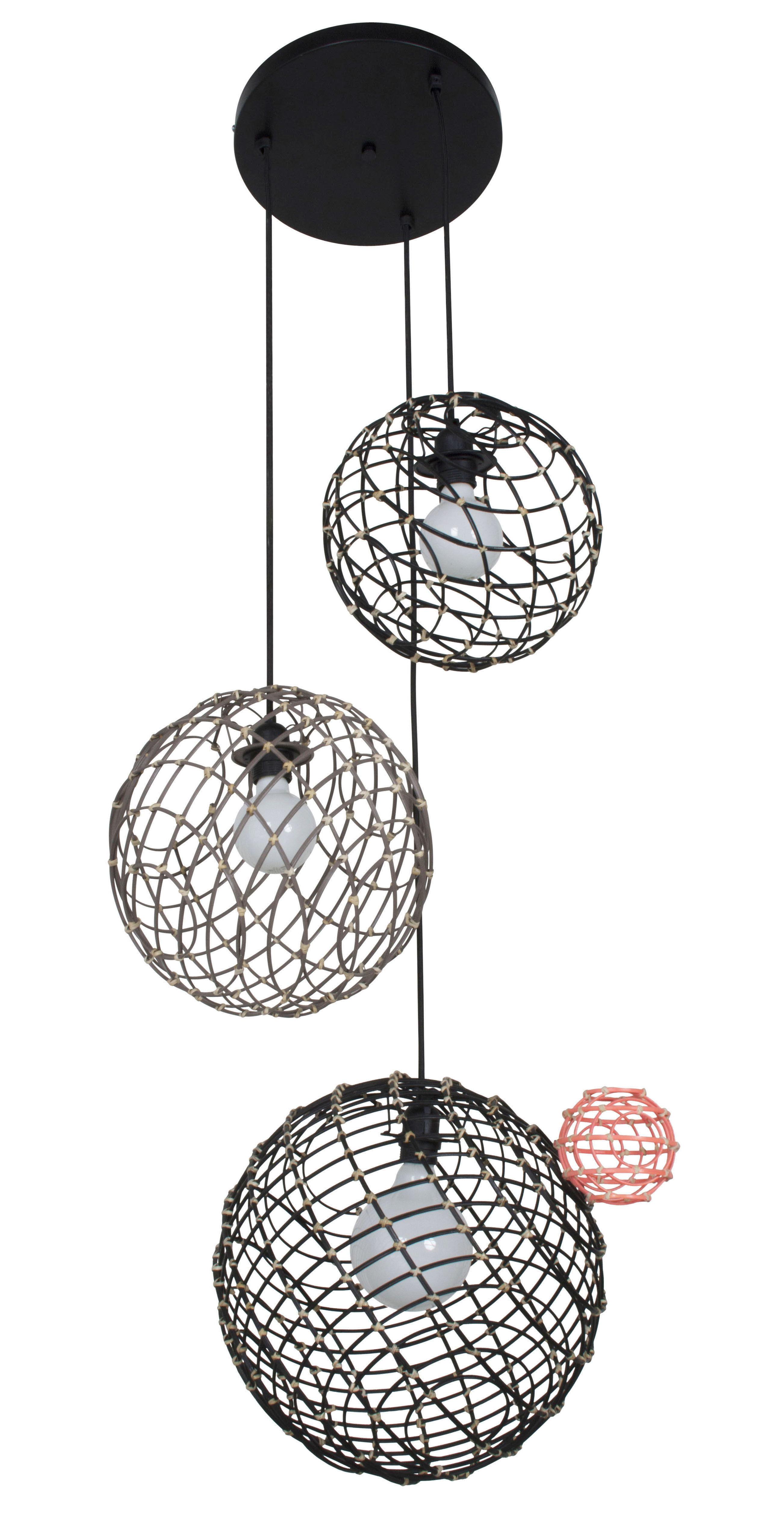Luminaire - Suspensions - Suspension Sphere Multiple / Bambou - Set 3 sphères - Forestier - Noir & taupe - Bambou