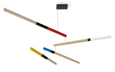 Suspension Tasso Cub LED / Chêne - L 155 cm - Presse citron blanc,bleu,rouge,noir,jaune moutarde,chêne clair en bois