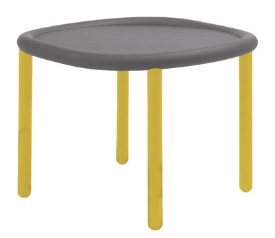 Table Basse Serve O 51 Cm Plateau Gris Pieds Jaunes Hay