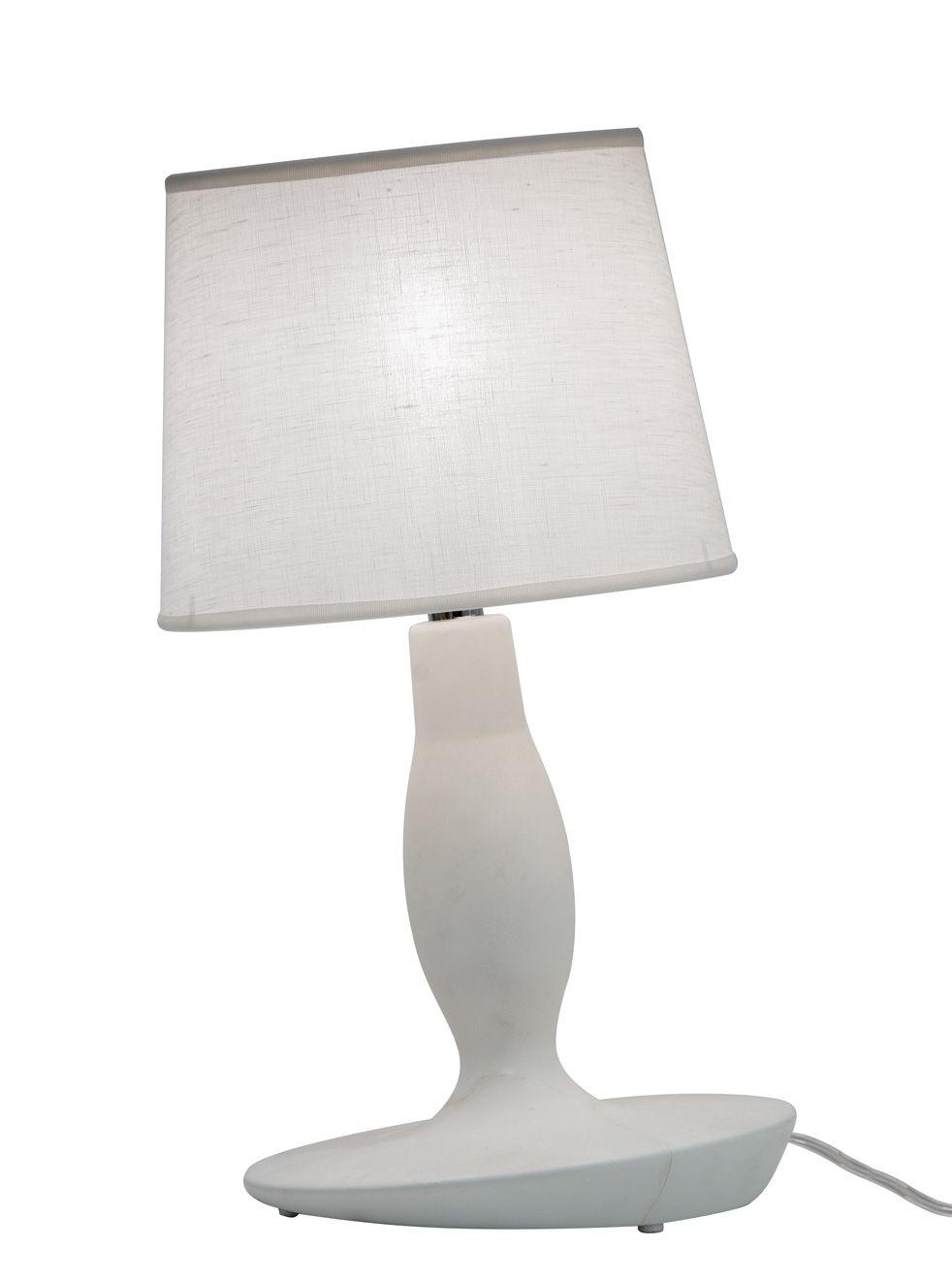 a205800099e8 Norma M Table lamp - Ceramic & Linen - Ø 22 x H 40 cm Matt white by ...