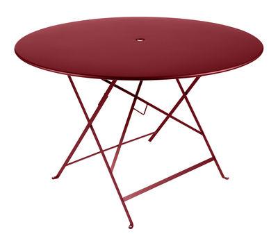 Jardin - Tables de jardin - Table pliante Bistro / Ø 117 cm - 6/8 personnes - Trou parasol - Fermob - Piment - Acier peint