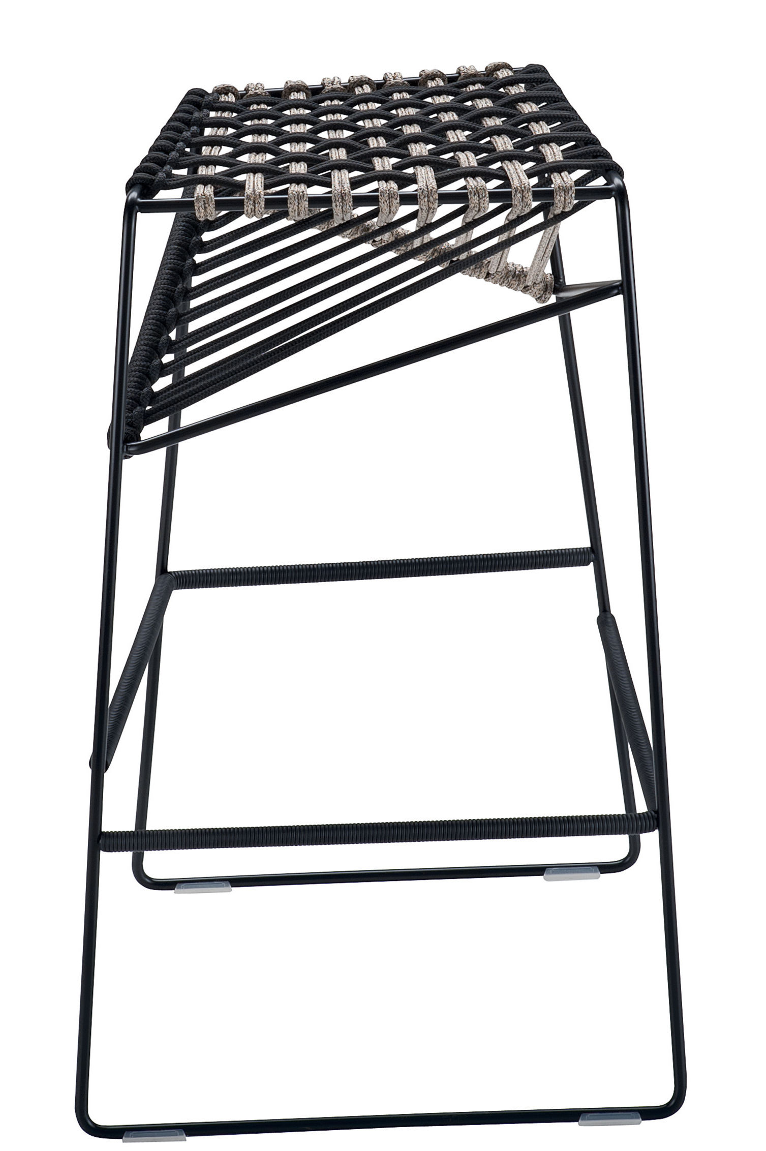 Mobilier - Tabourets de bar - Tabouret de bar Twist / H 77 cm - Cordes tressées - Zanotta - Noir / gris - Acier verni, Polyester