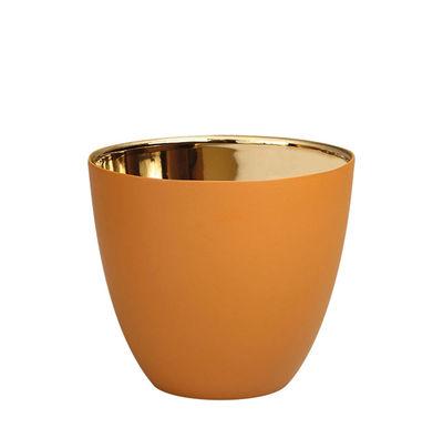 Dekoration - Kerzen, Kerzenleuchter und Windlichter - Summer Small Windlicht / H 6,5 cm - Porzellan - & klevering - Haselnuss / Gold - Porzellan