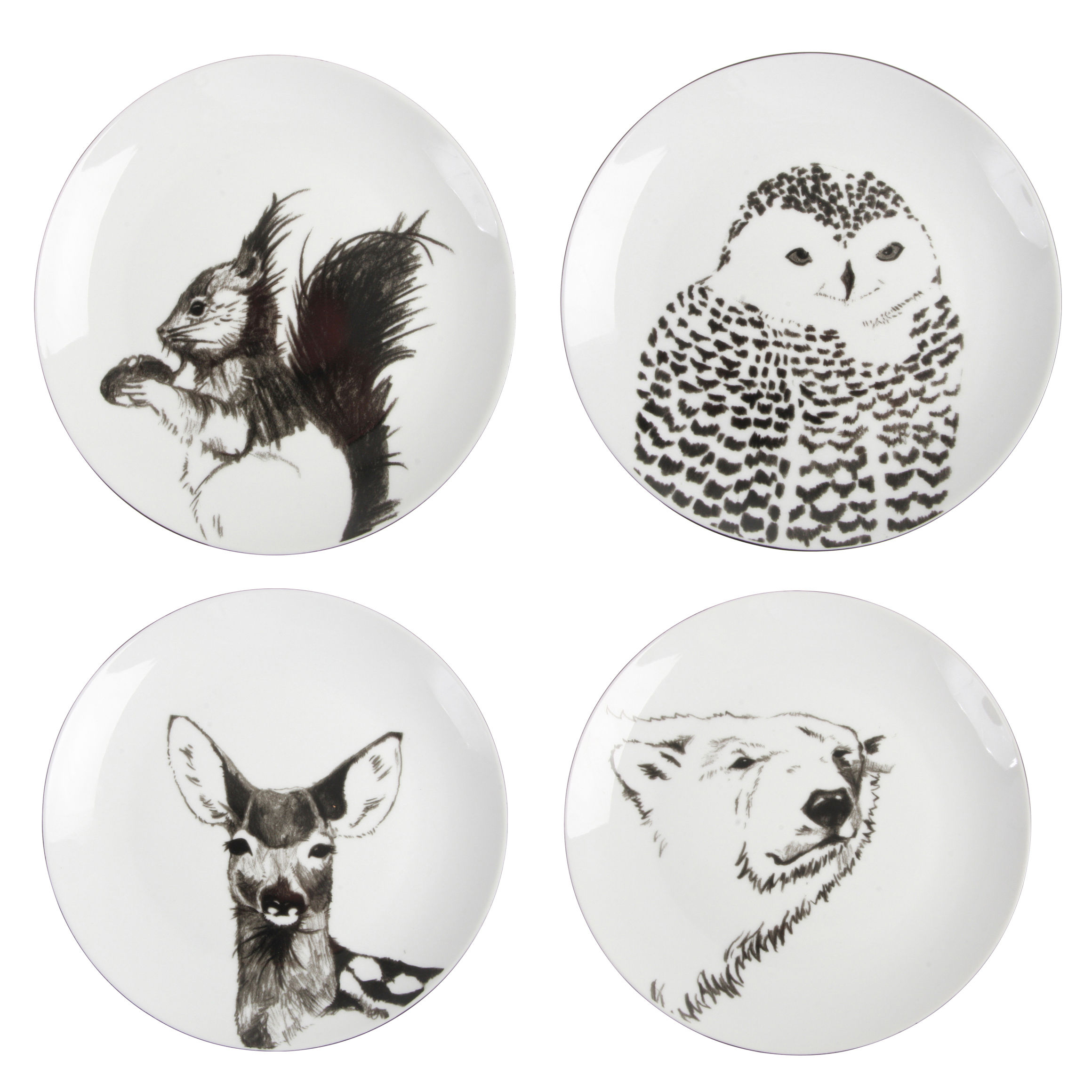 Arts de la table - Assiettes - Assiette Anouk winter / Set de 4 - & klevering - Noir & Blanc - Porcelaine