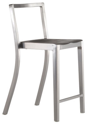 Furniture - Bar Stools - Icon Outdoor Bar chair - H 61 cm - Metal by Emeco - Brushed aluminium - Recycled brushed aluminium