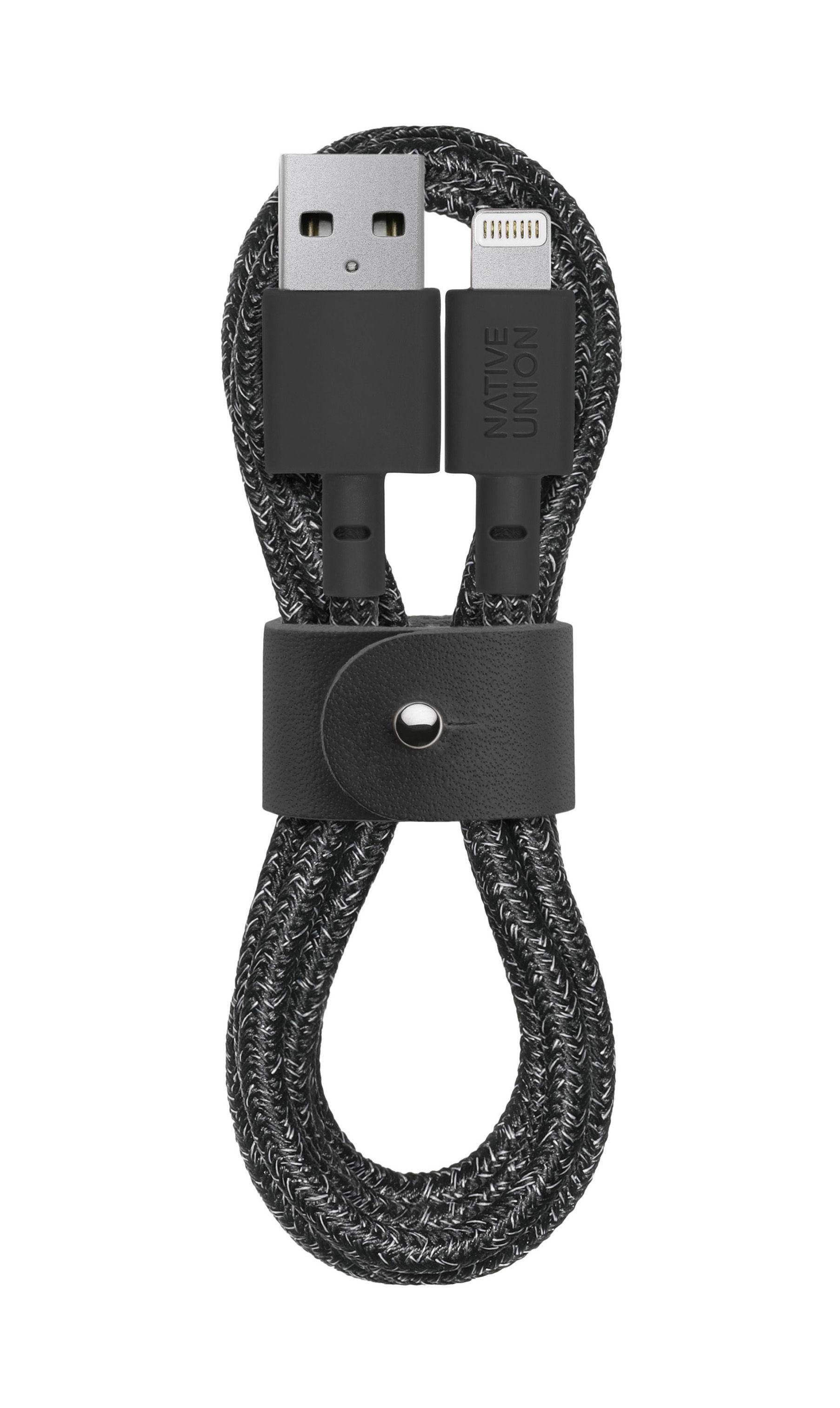 Accessoires - Objets connectés, accessoires high tech - Câble de charge Belt / Apple-Lightning - 120 cm - Native Union - Noir chiné - Cuir, Tissu